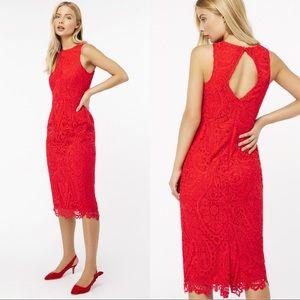 Monsoon Red Bonnie Lace Shift Midi Dress